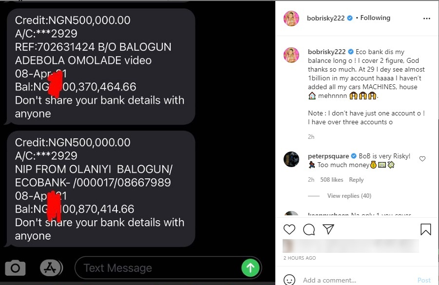 Bobrisky shares bank account balance of almost N1Billion