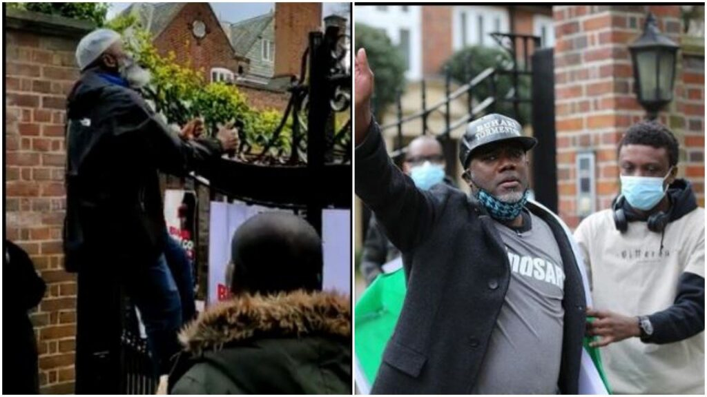 Protesters climb fence to gain access to Buhari in London